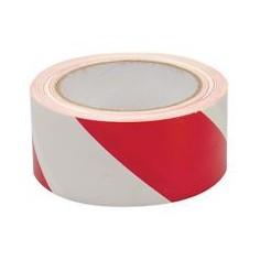 Nastro sicurezza adesivo striscia rosso bianco - 25m x 50 mm