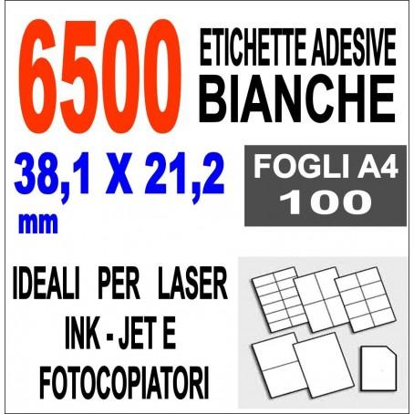 Etichette adesive 38,1x21,2 su carta A4 - 100 ff - 6500 etichette -laser - inkjet fotocopiatrice