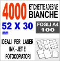 Etichette adesive  52x30 scatola  100 ff A4 - 4000 etichette  - stampa laser e inkjet