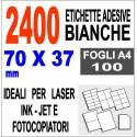 Etichette adesive 70x37 scatola 100 ff A4 - 2400 etichette - stampa laser e inkjet