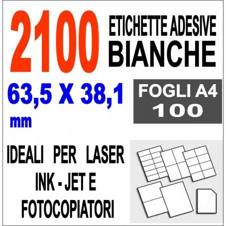 Etichette adesive  63,5x38,1 - 2100 etichette  - 100 ff