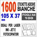 Etichette adesive 105x37 scatola 100 ff A4 - 1600 etichette - stampa laser e inkjet
