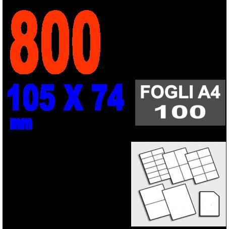 Etichette adesive  105x74 scatola  100 ff A4 - 800 etichette  - stampa laser e inkjet