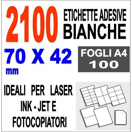 Etichette adesive  70x42 scatola  100 ff A4 - 2100 etichette  - stampa laser e inkjet