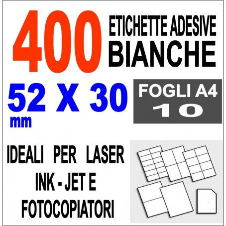 Carta adesiva bianca 38,1x21,2 opaca - 10 ff - stampanti laser inkjet fotocopiatrice