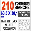 Carta adesiva bianca 52x30 opaca - 10 ff - stampanti laser inkjet fotocopiatrice