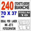 Carta adesiva bianca 63,5x38,1 opaca - 10 ff - stampanti laser inkjet  fotocopiatrice