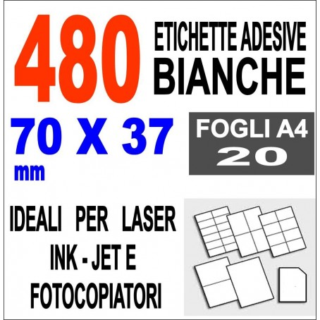 Carta adesiva bianca 70x37 opaca - 10 ff - stampanti laser inkjet  fotocopiatrice