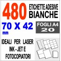 Carta adesiva bianca 70x42 opaca - 10 ff - stampanti laser inkjet fotocopiatric