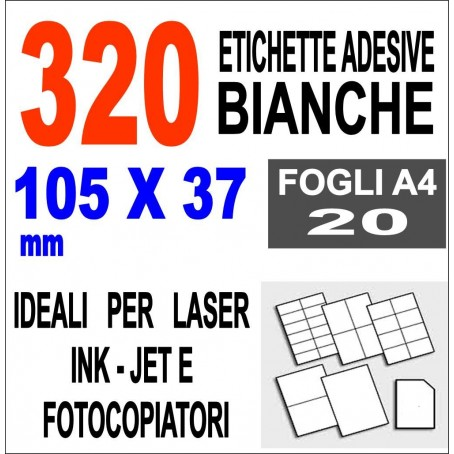 Carta adesiva bianca 105x37 opaca - 10 ff - stampanti laser inkjet fotocopiatric