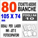 Carta adesiva bianca 105x148 opaca - 10 ff - stampanti laser inkjet fotocopiatric