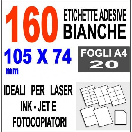 Carta adesiva bianca 105x74 opaca - 10 ff - stampanti laser inkjet  fotocopiatric