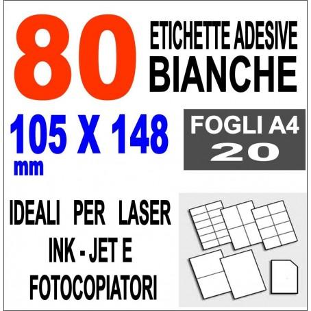 Carta adesiva bianca 105x148 opaca - 20 ff - stampanti laser inkjet fotocopiatric