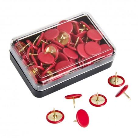 Puntine da disegno colorate ottonate - 50 pezzi rosso