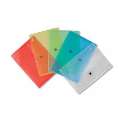 5 pezzi Buste con bottone A4 semi trasparenti - 5 colri assortiti 21x9,7in plastica nero