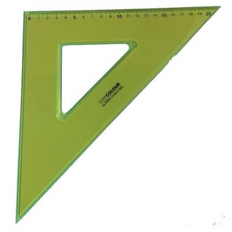 Squadra in PVC fluorescente arancione - 45 gradi 20 cm - keep colour