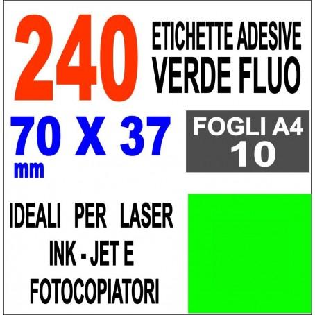 Etichette adesive VERDE FLUO 70x37 opaca - 10 ff - stampanti laser inkjet fotocopiatrice