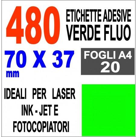 Etichette adesive VERDE FLUO 70x37 opaca - 20 ff - stampanti laser inkjet fotocopiatrice