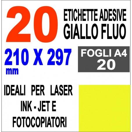 Carta adesiva bianca A4 GIALLO FLUO - 20 ff - stampanti laser inkjet  fotocopiatrice