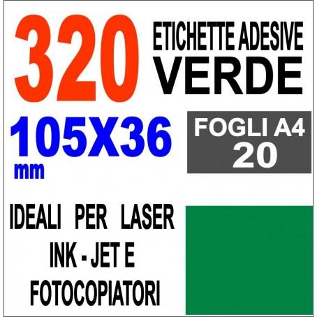 Etichette adesive VERDE 105x36 opaca - 20 ff - stampanti laser inkjet  fotocopiatric