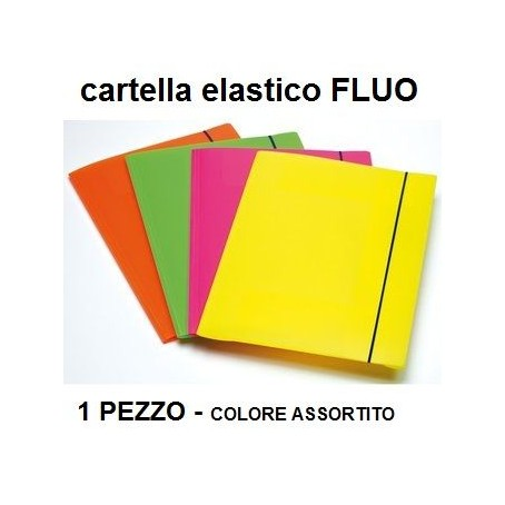 Cartella 3 lembi con elastico in PPL FLUO - 1 pezzo colore assortito