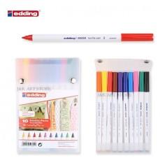 10 marcatore pennarello  per tessuto Edding con punta da 1mm - 10 colori