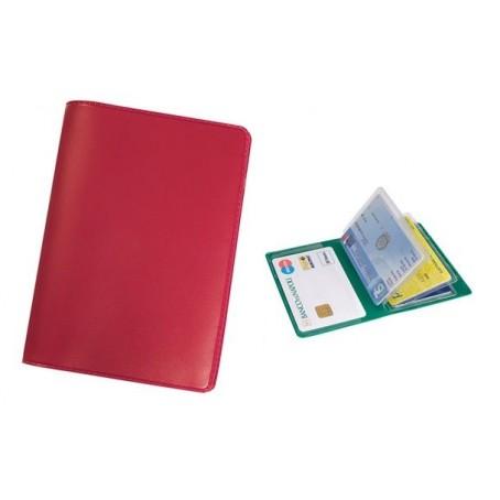 Porta carte di credito e tessere magnetiche - 6 posti - in PVC rosso