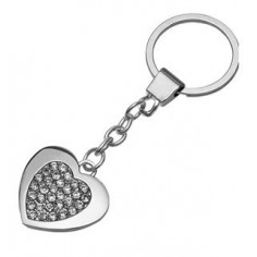 """Portachiavi cuore """"Pretty"""" in metallo con inserti in strass ed anello piatto"""