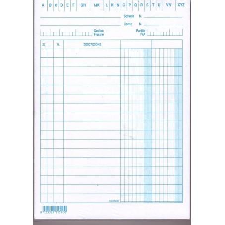 Schede dare avere saldo 15x10,5 - 100 pz - verticale - schede a righe per schedario