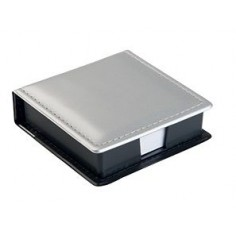 Porta notes porta foglietti da scrivanica con calendario - ecopelle di colore siler