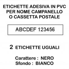 2 pz targa adesiva nome citofono e cassetta postale in PVC bianco e carattere nero