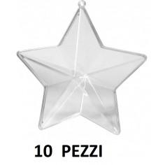 Stella trasparente plastica apribile 10cm 10 pezzi