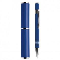 Penna a sfera a scatto Venus con porta penna in alluminio colore blu