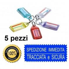 5 portachiavi con targhetta portanome doppia faccia in PVC rigidoin 5 colori assortiti