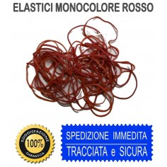 Elastici rossi monocolore in busta  25 gr misure assortite