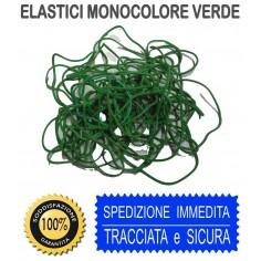 Elastici verdi monocolore in busta  25 gr misure assortite