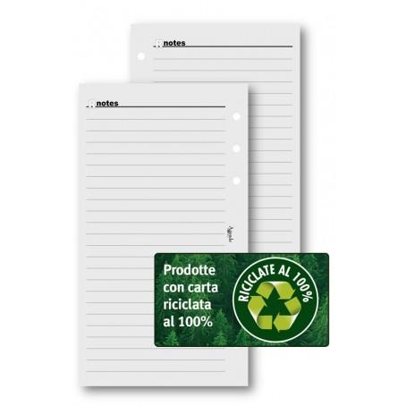 Ricambio fogli righe carta riciclata 9,5x17 da 50 fogli  per agenda organizer