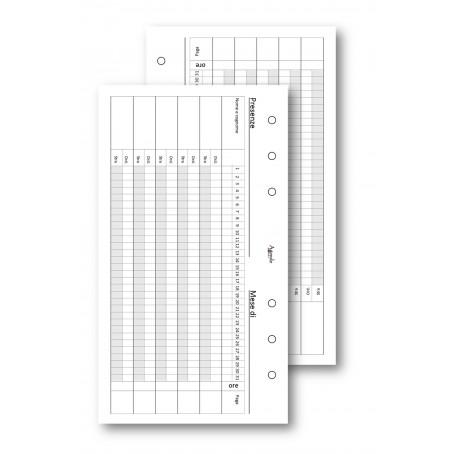 Ricambio fogli  presenze mensili 9,5x17 da 50 fogli  per agenda organizer