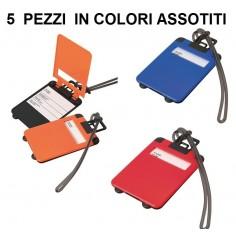 5 PZ Targhetta portanome per valigia bagaglio cordoncino in gomma