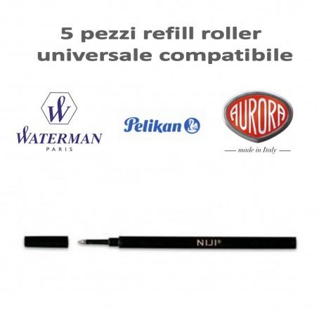 Refill roller compatibile Aurora Pelilan Waterman punta in metallo - punta media colore nero