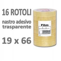 Nastro adesivo trasparente 19x66 16 rotoli