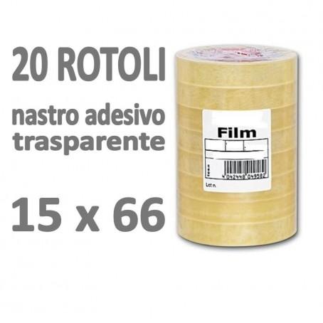 Nastro adesivo trasparente 15x66 20 rotoli