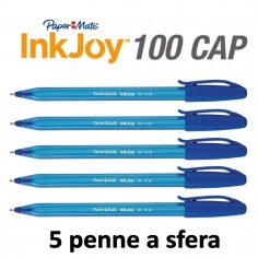 Penne PaperMate InkJoy 100 a sfera 5 pezzi blu