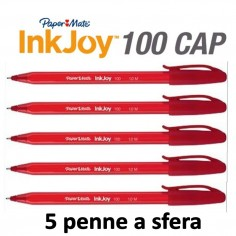 Penne PaperMate InkJoy 100 a sfera 5 pezzi rosso