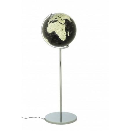 Mappamondo in alluminio SOJUS black con luce e piedistallo