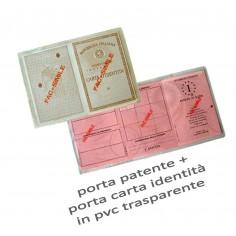 porta patente e porta carta di identità in plastica trasparente