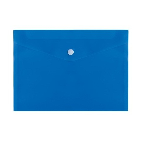 5 pezzi buste con bottone A5 15x21 in PVC lucido blu con bottone in plastica bianco