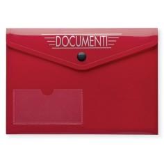 5 pezzi buste con bottone A5 15x21 in PVC Rosso con tasca porta biglietto