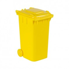 Portapenne forma di pattumiera coperchio chiudibile colore giallo