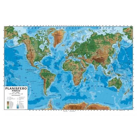 Cartina Geografica Del Mondo Fisica.Carta Geografica Murale Planisfero Mondo 100x140 Scolastica Bifacciale Fisica E Politica